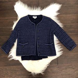 Max Mara Women's Blue Sweater Set Cardigan Shell